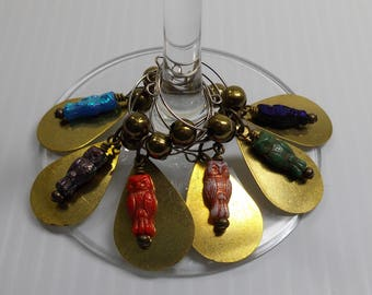 Wine Glass Charms:  The Czech Owl Collection