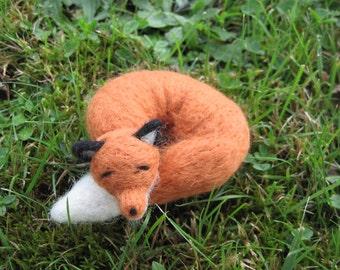 Needle Felted Sleeping Fox Woodland Forest Animal