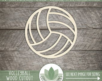 Wood Volleyball Cut Out, Laser Cut Wood Volleyball, Volleyball Team Decor, Many Size Options, DIY Laser Cut Wood Craft Supplies