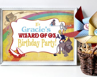 Wizard of Oz Party Sign - INSTANT DOWNLOAD - DIY Editable & Printable Birthday Decorations by Sassaby