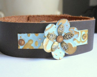Leather Cuff Bracelet,Metal Bracelet,Flower Bracelet,Turquoise Patina Leather Bracelet,Leather Accessories