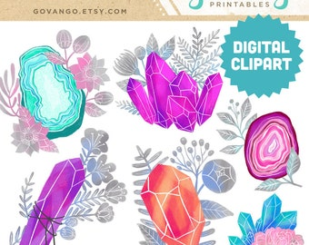 GEMS & FLORALS Digital Clipart Instant Download Illustration Clip Art Boho Commercial Use Gem Gemstone Crystal Amethyst Birthstone Flower