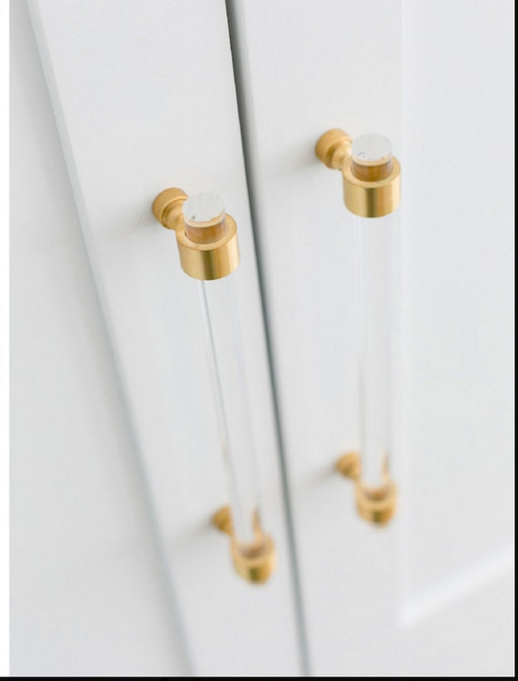 1/2 Dia. Polished or Satin Brass Drawer Pulls Lucite