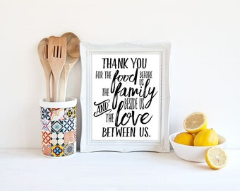 Thank You Kitchen Prayer Print - Digital Download Quote / Artwork / Typography Wall Art / Gallery Wall