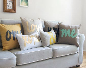 Personalized Word Pillow Case | Letter, Symbol, Text Cushion Cover | 18x18 inch / 45x45 cm Decorative Pillow | Modern Home Decor