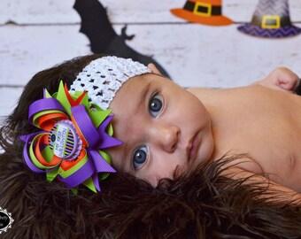 Newborn Halloween Hair Bow - My First Halloween Hair Bow - Halloween Hair Bows - Purple Orange Green Hair Bow - Halloween- Infant Hair Bow
