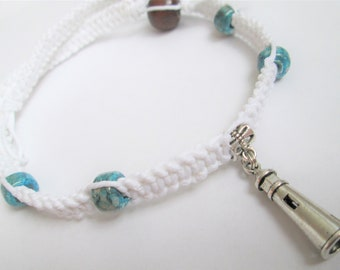 Lighthouse - Beautiful White Hemp Choker Necklace with Lighthouse Charm Pendant and Blue Glass Beads - Beach Hemp Necklace - Beach Jewelry