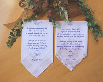 Mother of the Bride-Father of the Bride-Wedding Handkerchief-PRINTED Lace hankerchief-Set of 2 CUSTOMIZED-Wedding hankies-Wedding-CAC[158]