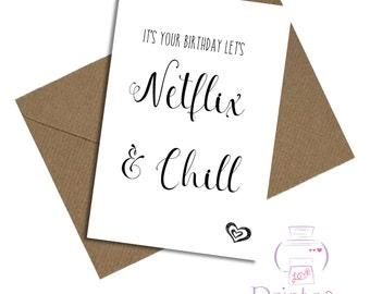 Netflix & chill card birthday boyfriend girlfriend wife husband