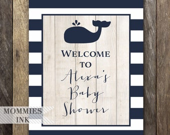 Whale Welcome Sign, Baby Shower Welcome Sign, Whale Door Sign, Whale Printable, Navy Whale Baby Shower, Custom Sign, Printable Whale Sign