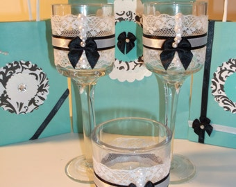 Black and white laced mini candle holder (set of 2)