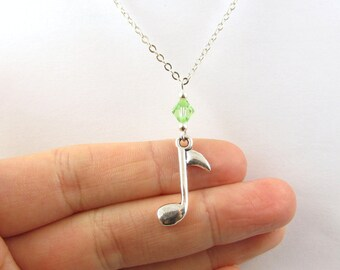 Music Note Necklace- choose a birthstone, Music Note Jewelry, Music Necklace, Music Jewelry, Music Birthstone, Music Pendant, Eighth Note