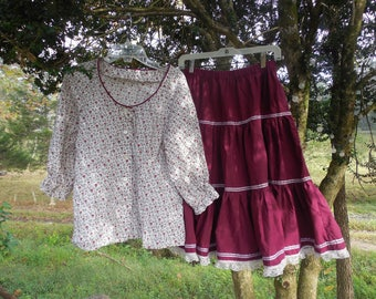 Vintage square dance outfit shirt and skirt calico floral print burgundy tiered full circle skirt lace ribbon med large western costume