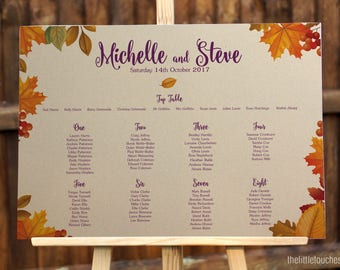 Autumn Leaves Fall Table Plan / Seating Plan for wedding - Customise Colours