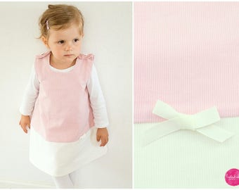 Pink white cord dress with bow baby girl toddler dress tunic dress dresses birthday dress cotton dress Carrier Dress
