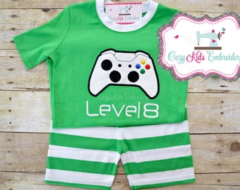 Gamer Birthday Pajamas, Video Game Pajamas, Boy's Pajamas, Children's Pajamas, Custom Pajamas, Video Game Birthday, Applique, Embroidery