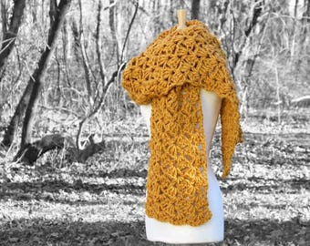 Blanket scarf, oversize winter scarf, mustard yellow scarf, crochet oversized scarf, yellow crochet scarf, chunky knit scarf, mothers day