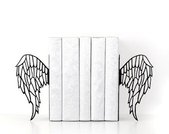 Angel wings bookends Gothic decor Bookworm gifts Book ends Boho decor Book shelf Book lover gifts Housewarming gift Dorm decor - black
