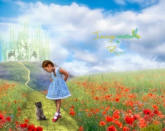 Digital background | Yellow Brick Road Wizard of Oz inspired | digital backdrop | magical | fairytale | 2 versions JPE | value pack