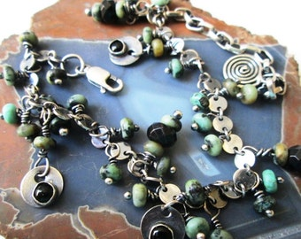 SALE Turquoise and Black Onyx and Spinel Dangle Disc Fringe Adjustable Bracelet in Sterling Silver