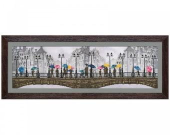Cross stitch, Multicolored rain, embroidery kit, needlepoint kit, 60x18 cm, cityscape embroidery,
