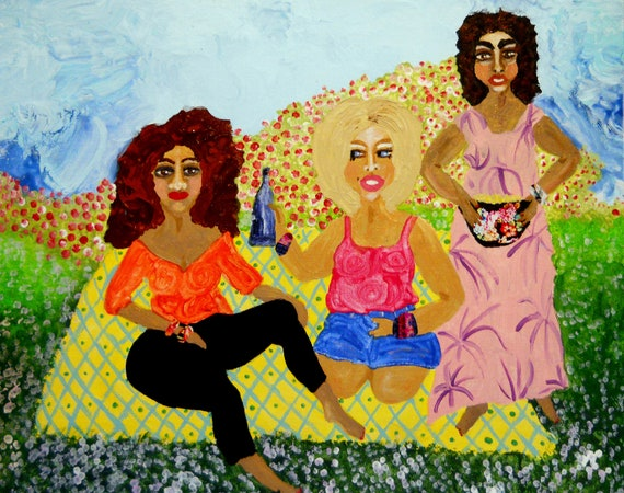 """HAPPY CAMPERS- Acrylic Mix Media Painting on 16 x 20"""" canvas panel, Ethnic Art; Outsider Folk Artist Stacey Torres women glamping together"""
