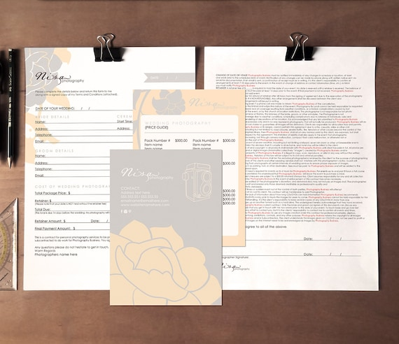 floral wedding photography contract form and pricing guide