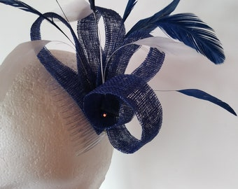 Royal blue and white feather fascinator wedding fascinator.  made in Scotland UK