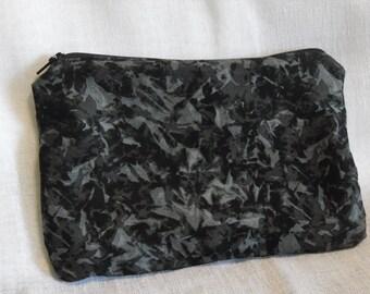Black Grey Abstract Camo Pencil Makeup Bag Pouch with Zipper