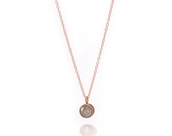 Gemstone POP Necklace - Rose Gold Necklace - Labradorite Necklace - Small Gemstone Pendant Necklace - 18k Rose Gold Vermeil