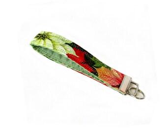 Christmas Keychain, Poinsettia Key Fob, Handmade Key Holder, Keychain Wristlet, Christmas Flower, Fabric Key Fob, Stocking Stuffer