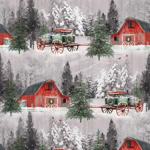 Winter Snow Red Barn and Buckwagon At The Tree Farm, Merry Christmas. Quilt Fabric by the Yard 6929 86