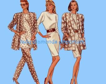 Butterick 6605 Womens Dress Tunic Top Pants Flared Swing Jacket sz 18 20 22 Bust 40 42 44 Easy Vintage 80s Plus Size Sewing Pattern Uncut FF