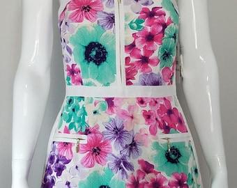 Women's floral print strapless dress