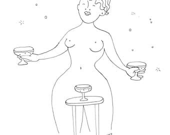 Naked Ladies Drinking