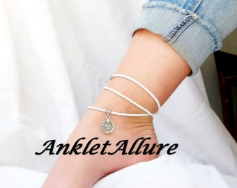 LEATHER Ankle Bracelet COIN Anklet White BEACH Ankle Bracelet Wrap Anklets for Women