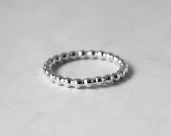 Thin Beaded Sterling Silver Ring