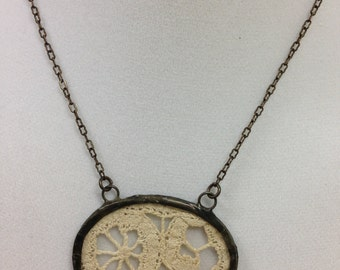 Antique Lace Necklace Soldered Between Mico Thin Glass