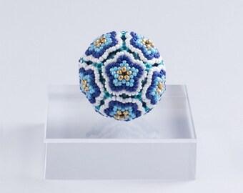 Blue Flower Ball Ornament, blue & gold beaded ball ornament, christmas decor, home decoration, free shipping, 11ob