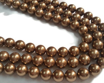 10mm Brown Shell Pearl Round beads, good quality pearl ,