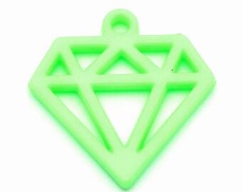 Diamond charm 40mm green plastic