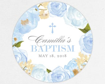 Baptism Favor Tag, Baptism Favor Label, Christening Favor Tag, Christening Favor Label, Cross, Blue, Floral Baptism, Watercolor, Camilla