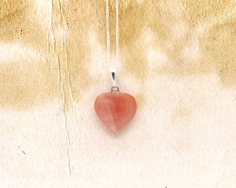 Cherry Quartz Gemstone Heart Shaped Pendant On 925 Sterling Silver Fine Chain Necklace