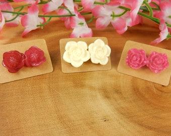 Flower Studs, Floral Earrings, Pink Flower Studs, Cream Flower Earrings, Rose Bud Studs