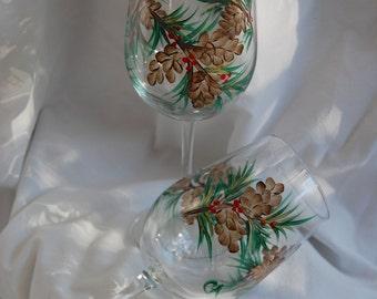 Hand painted wine glasses - pinecones - set of six