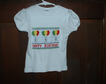 Embroidered Birthday Puffed Sleeve Shirt 3T