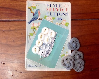 Vintage buttons - 6 on bird card, 4 loose