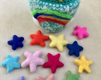 Counting stars felted wool play set Waldorf inspired ready to ship
