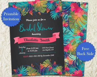 Chalkboard Tropical Bridal Shower Invitation, Luau Party Bridal Shower Invitation, Hawaiian Flowers Botanical Bridal Shower Invitation