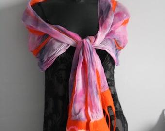 Handmade nuno felted silk chiffon scarf  hot pink and orange.